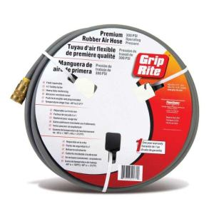 Grip-Rite GRPRB1450C Premium Rubber Hose 1/4x50 With Coupler Gray