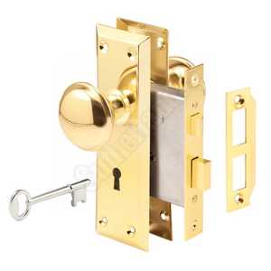 Prime Line Products E 2293 2-3/8-Inch Polished Brass Mortise Lock Set