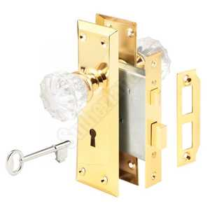 Prime Line Products E 2311 2-3/8-Inch Mortise Lock Set Assembly With Glass Knobs