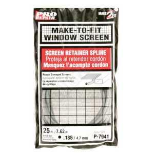 Prime Line Products P 7941 25-Foot .185 Diameter Gray Screen Retainer Spline