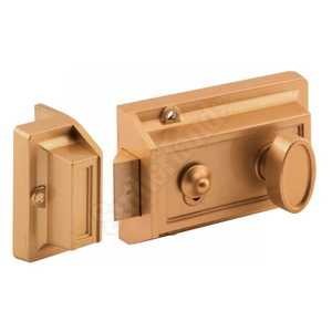 Prime Line Products U 9967 Single Cylinder Brass-Painted Locking Night Latch