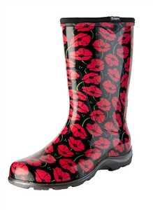 Sloggers 5016POR08 Women's Tall Rain & Garden Boots Red Poppies 8