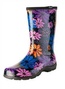 Sloggers 5016FP08 Women's Tall Rain & Garden Boots Flower Power 8