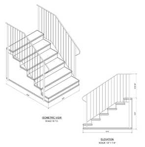 Century Group 11067S-R Step Railing For 6 Tread 7 In Rise Precast Steps