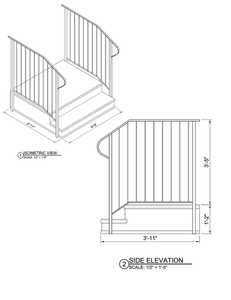 Century Group 1102736S-R Step Railing For 2 Tread With 36 In Stoop Precast Steps