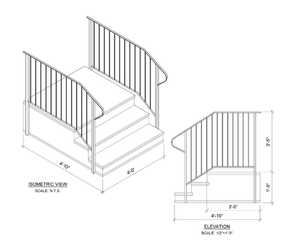 Century Group 1103736S-R Step Railing For 3 Tread With 36 In Stoop Precast Steps