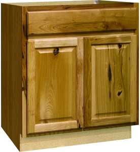 Continental Cabinets CBKSB30-NHK 24-Inch X 30-Inch X 34-Inch Hickory Finish Hickory Raised Panel Sink Base Cabinet