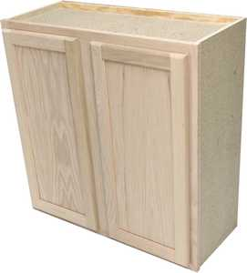 Quality One Woodwork W3030 30x30 Unfinished Oak Wall Cabinet