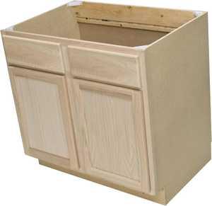 Quality One Woodwork SB36 36 in Unfinished Oak Sink Base Cabinet