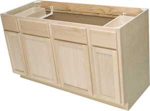 Quality One Woodwork SB60 60 in Unfinished Oak Sink Base Cabinet 5 ft