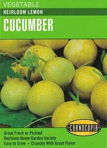 Cornucopia Garden Seeds 278 Heirloom Lemon Cucumber Seeds