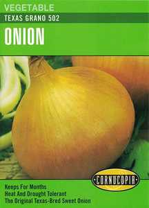 Cornucopia Garden Seeds 162 Texas Grano 502 Onion Seeds