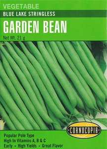 Cornucopia Garden Seeds 188 Blue Lake Stringless Garden Bean Seeds