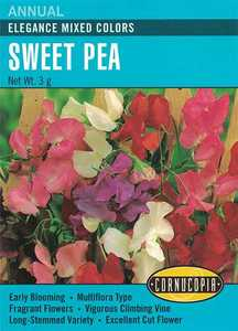 Cornucopia Garden Seeds 136 Elegance Mixed Colors Sweet Pea Seeds