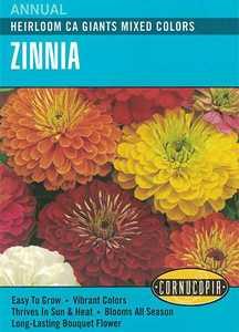 Cornucopia Garden Seeds 138 Heirloom Ca Giants Mixed Colors Zinnia Seeds