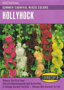 Cornucopia Garden Seeds 104 Summer Carnival Mixed Colors Hollyhock Seeds