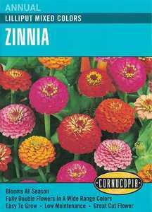 Cornucopia Garden Seeds 139 Lilliput Mixed Colors Zinnia Seeds