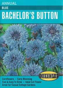 Cornucopia Garden Seeds 209 Blue Bachelor's Button Seeds
