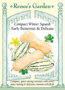 Renee's Garden Seed Co. 5434 Early Butternut And Delicata Compact Winter Squash Seeds