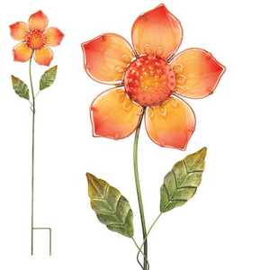 Regal Art & Gift 10346 Glass Flower Stake - Orange