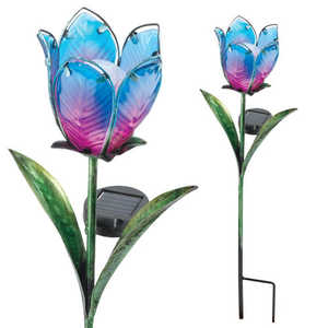 Regal Art & Gift 10558 Solar Tulip Stake Blue/Pink