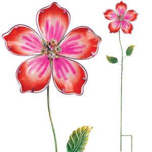 Regal Art & Gift 10542 Glass Flower Stake - Orange Hibiscus