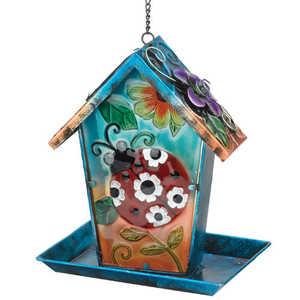 Regal Art & Gift 10556 Solar Lantern/Birdfeeder - Ladybg