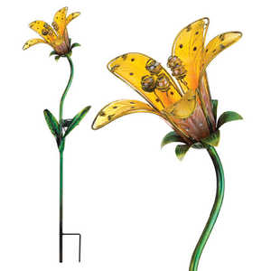Regal Art & Gift 10839 Stake Solar Tiger Lily Yellow