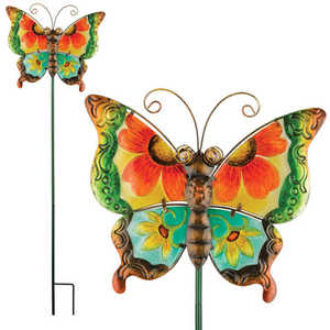 Regal Art & Gift 10832 Floral Butterfly Stake - Green