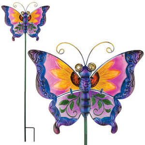 Regal Art & Gift 10833 Floral Butterfly Stake - Purple