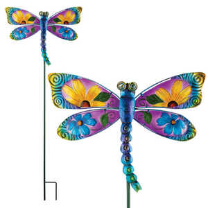 Regal Art & Gift 10834 Floral Dragonfly Stake - Blue
