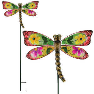 Regal Art & Gift 10835 Floral Dragonfly Stake - Red