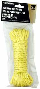 ProfValue Z08449 Twisted Poly Rope 1/4 in X 25 ft