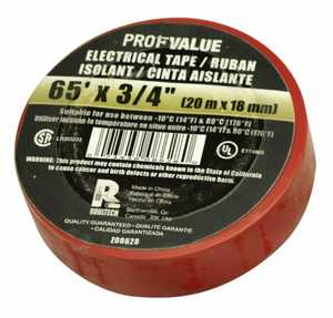 ProfValue Z08628 Red Electrical Tape 65 ft 20m