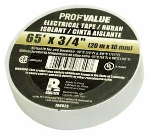 ProfValue Z08629 White Electrical Tape 65 ft 20m