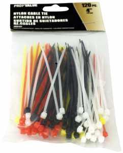 ProfValue Z08737 4 in Color Cable Ties 120 Piece