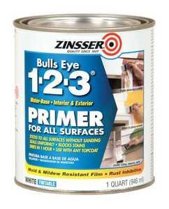 Zinsser 2004 Bulls Eye 1-2-3, Interior/Exterior Water-Base Tintable Primer White Quart