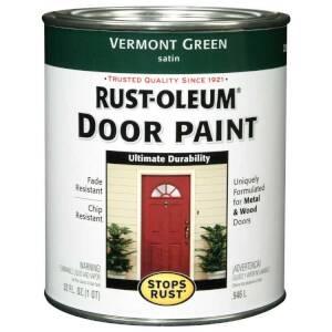 Rust-Oleum 238316 Stops Rust Door Paint Vermont Green Satin Qt