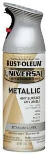 Rust-Oleum 245220 Universal Interior/Exterior Metallic Spray Paint Titanium Silver