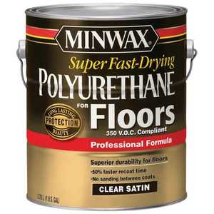 Minwax 27426130227 Interior Super Fast-Drying Polyurethane For Floors Clear Satin Finish Gallon