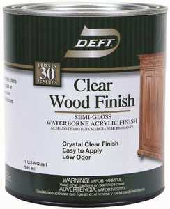 Deft 011-04 Interior Wood Finish Brushing Lacquer Opaque Semi-Gloss Finish Quart