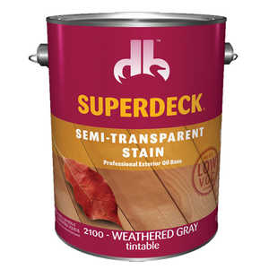 Duckback 4075521004 Superdeck Semi-Transparent Stain Professional Exterior Oil Base In Weathered Gray 1 Gal