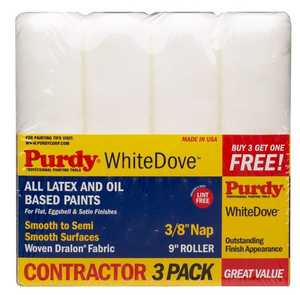 Purdy 14A863400 Paint Roller Cover White Dove 3/8x9 4pk