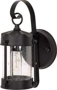 Satco Nuvo Lighting 60-635 Outdoor Piper Lantern With Seeded Glass Textured Black