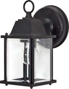 Satco Nuvo Lighting 60-638 Outdoor Cube Lantern With Beveled Glass Textured Black