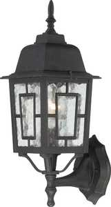Satco Nuvo Lighting 60-4926 Outside Wall Light With Water Glass Textured Black