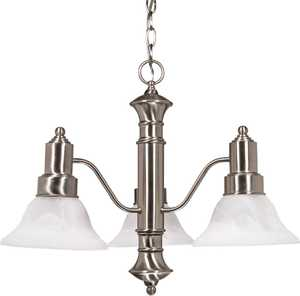 Satco Nuvo Lighting 60-190 Chandelier With Alabaster Glass Bell Shades Brushed Nickel