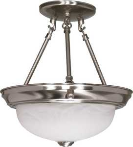 Satco Products 60-200 2-Light 11-Inch Brushed Nickel Semi Flush Mount Light Fixture