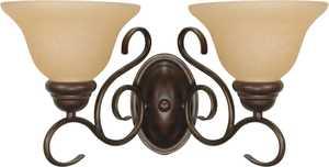 Satco Nuvo Lighting 60-1031 Vanity Light Fixture With Champagne Glass In Sonoma Bronze