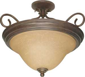 Satco Products 60-1027 3-Light Sonoma Bronze Castillo Semi Flush Ceiling Light